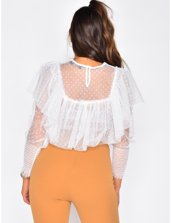 Long Sleeved Top with Polka Dots and Ruffles