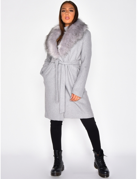 Long Tie Coat with Faux Fur Collar