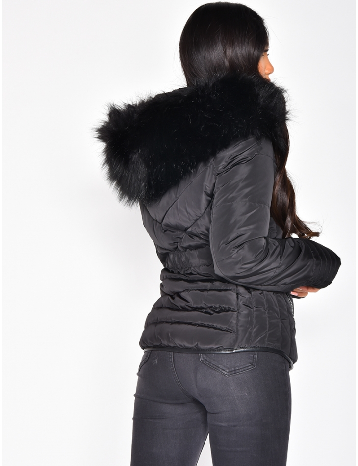 Fitted Padded Jacket with Faux Fur