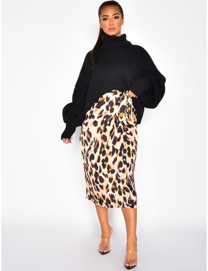 Jupe longue satinée léopard à nouer