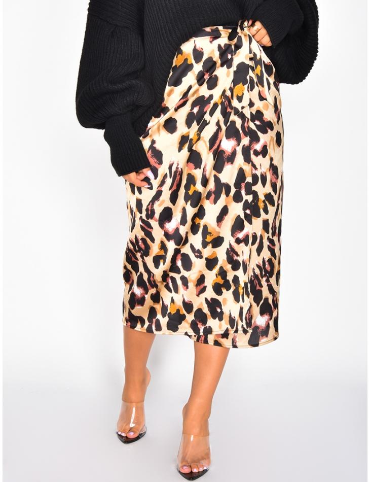 Long Satin Leopard Tie Skirt