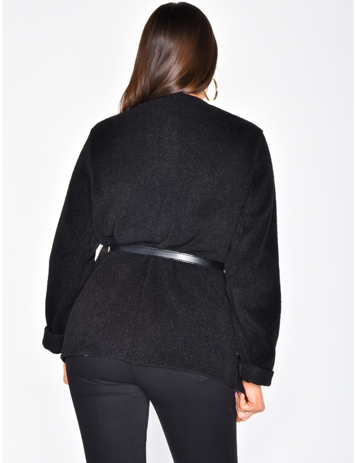 Super Soft Boiled Wool Jacket with Nipped Waist