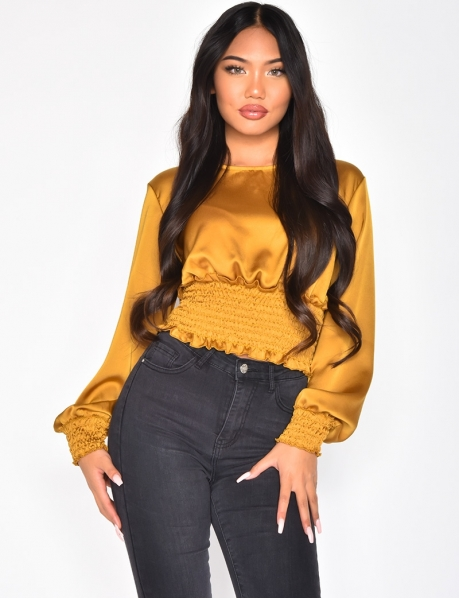 Gathered Long Sleeved Crop Top