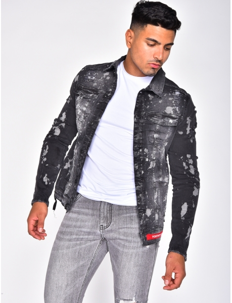 Ripped Speckled Denim Jacket with Patches