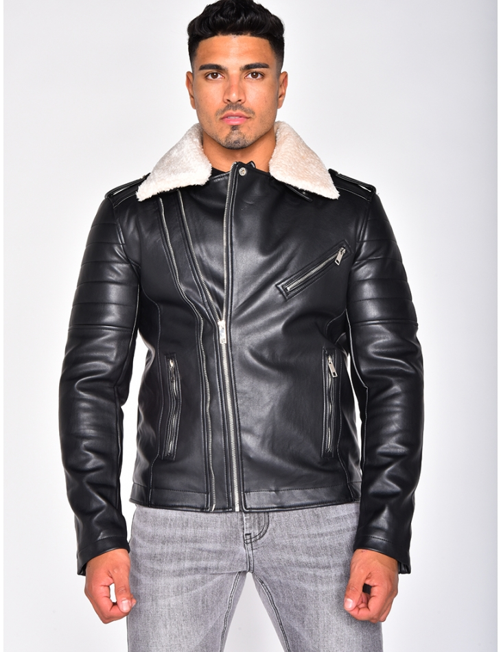 Faux Leather Jacket with Zip and Fur Collar
