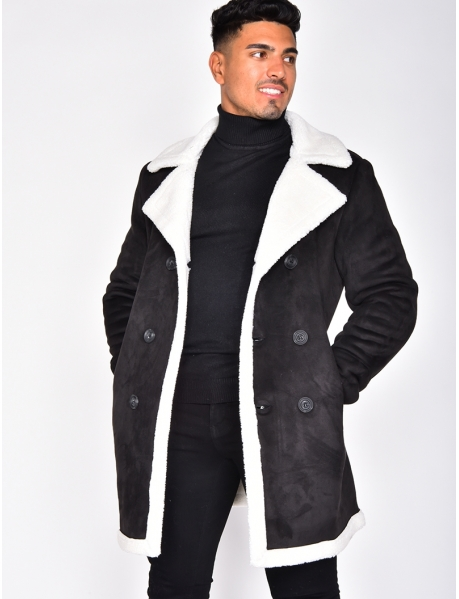 Suedette Coat with Fur
