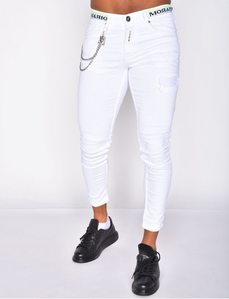 Ripped 'MORATO' Jeans with Chains