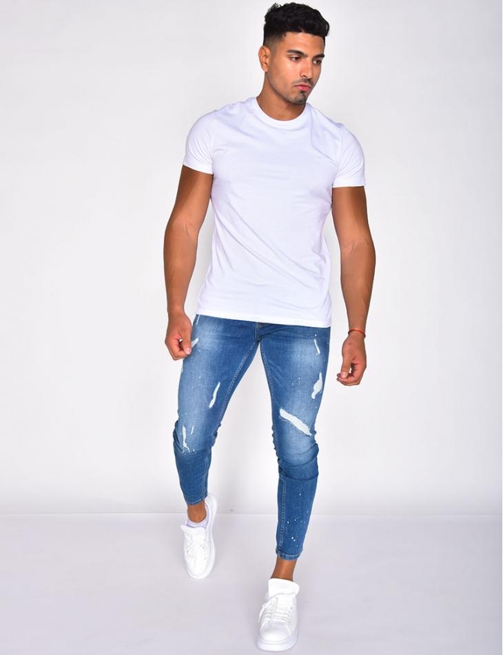 Jeans destroy à taches