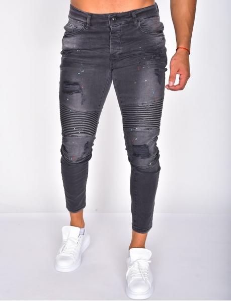 Jeans tâcheté destroy texturé