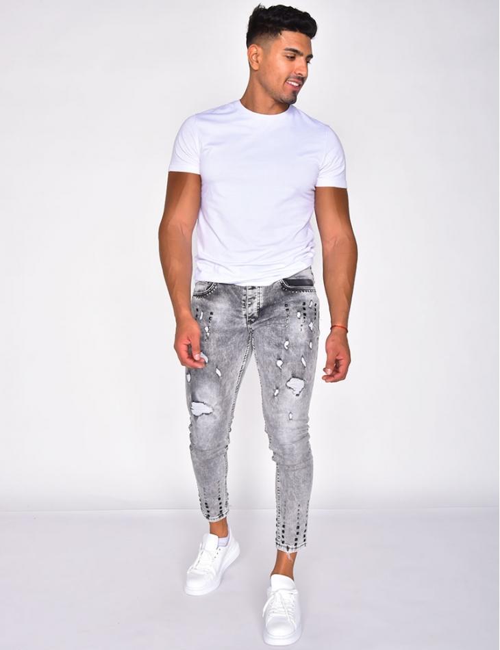 Jeans destroy à clous