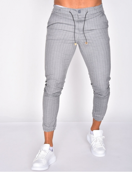 Striped Trousers with Elastic Drawstring