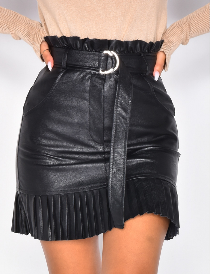 Faux Leather Skirt with Belt