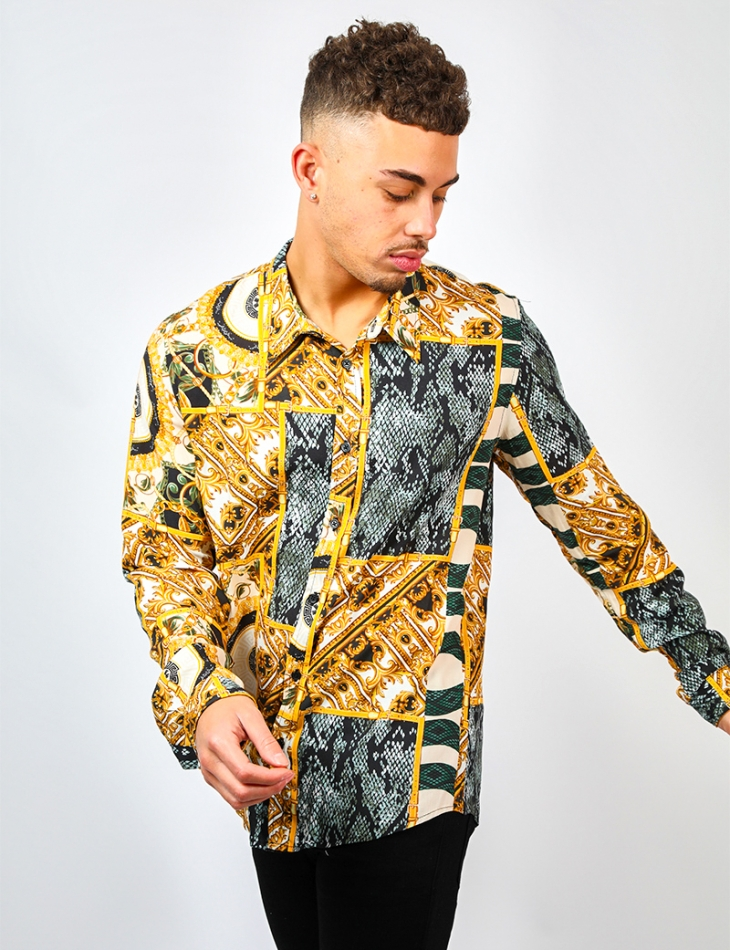 Loose Fit Shirt with Baroque Pattern