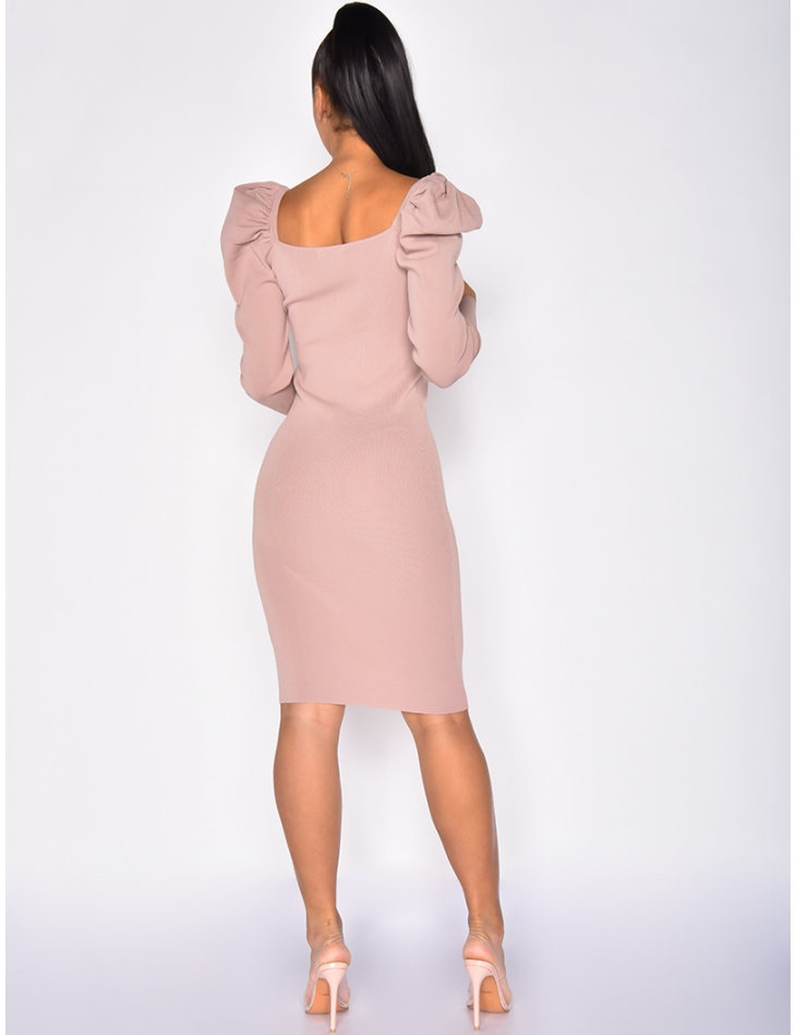 Dress with Puff Shoulders