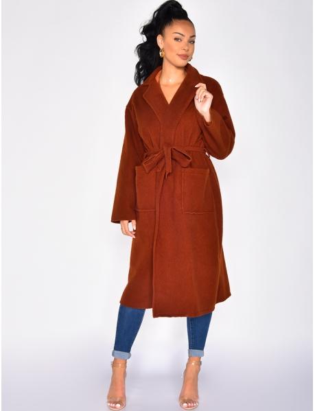 Manteau long en laine à nouer