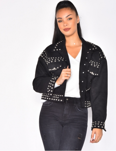 Suedette Jacket with Studs