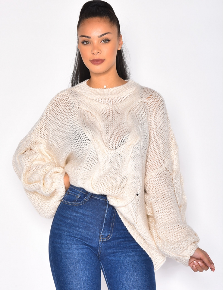 Pull large en maille manches bouffantes