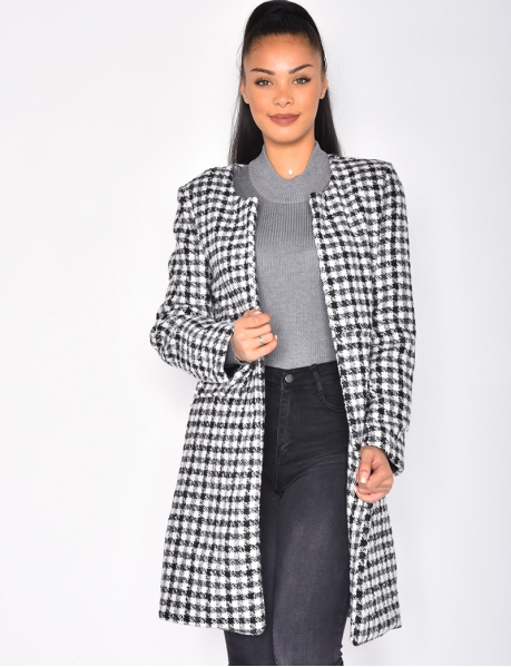 Long Open Checked Blazer