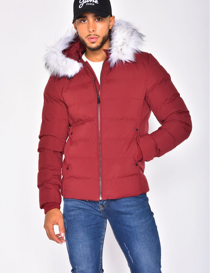 Padded Jacket with Fur Collar