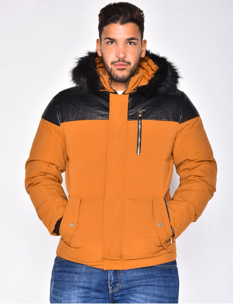 Padded Jacket with Leather Insert