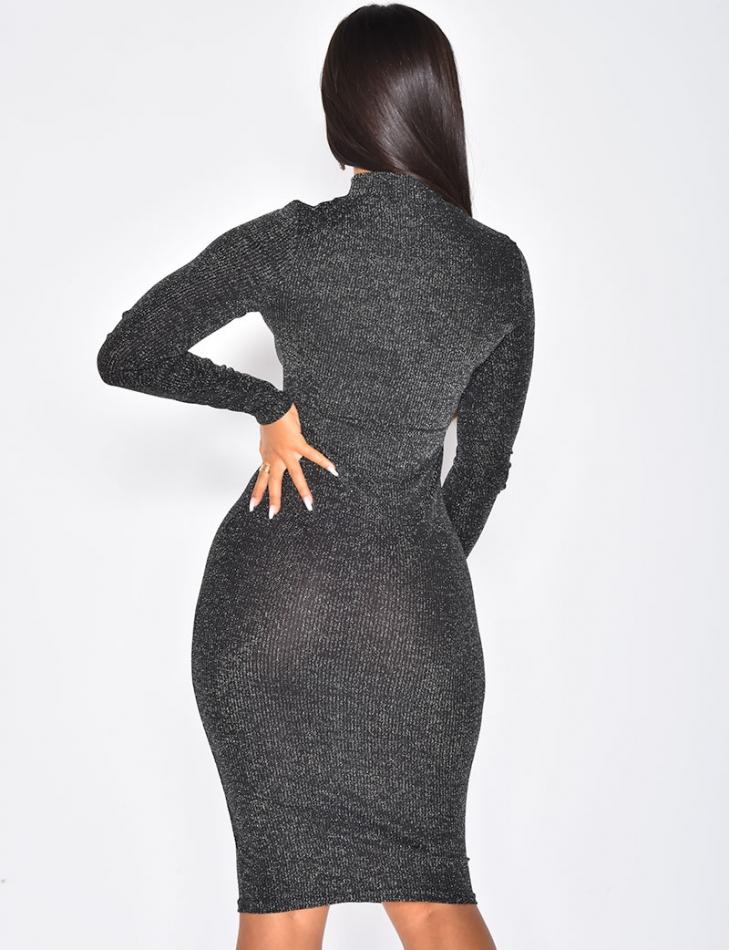 Long Sleeved Glittery Dress