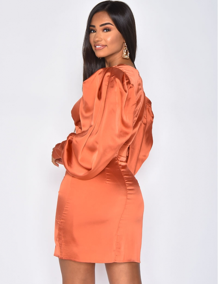 Satiny Dress with Puff Sleeves