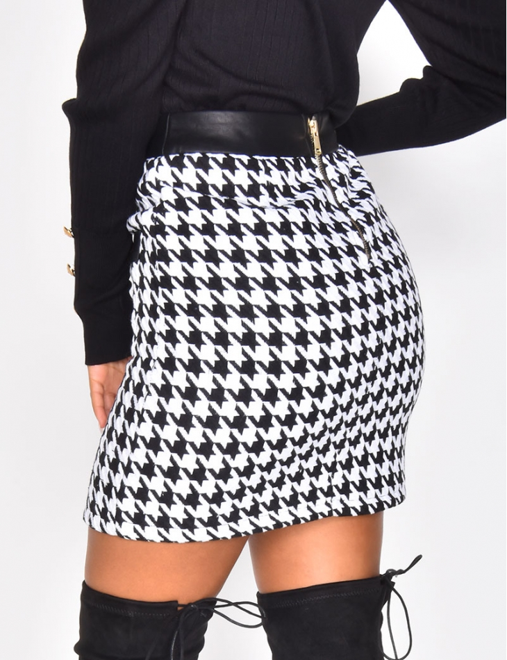 Houndstooth Skirt with Officer Buttons
