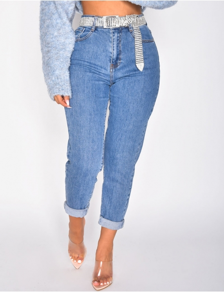 Mom jeans taille haute