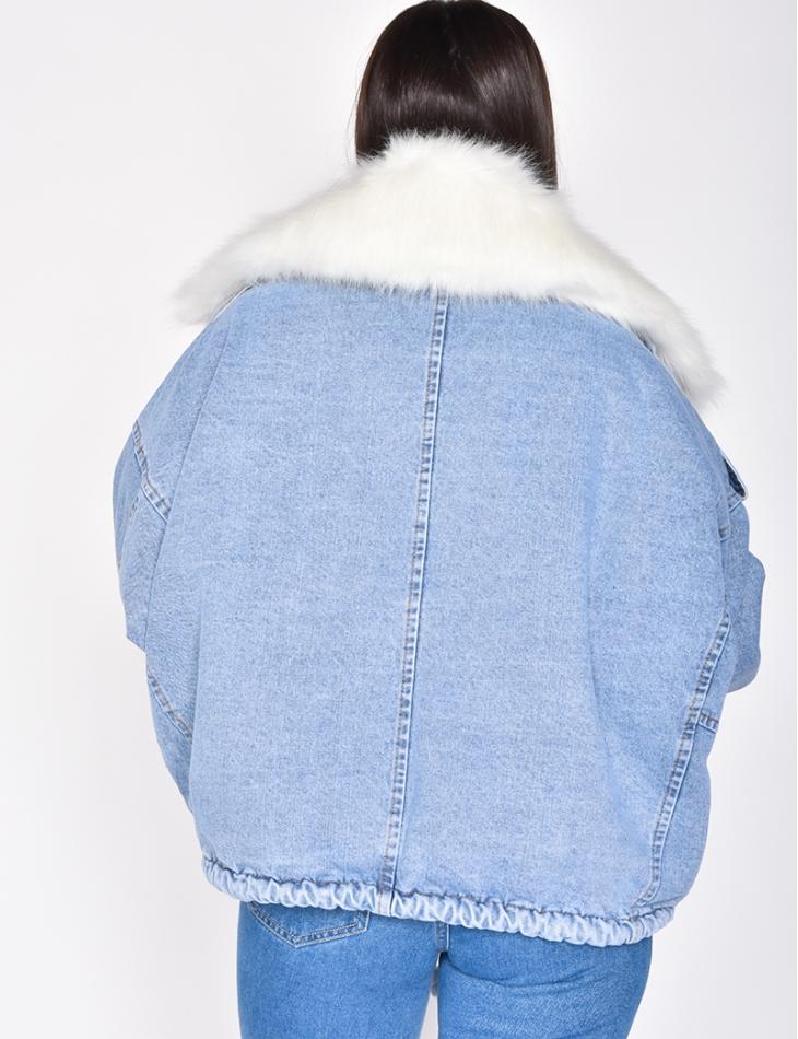 Veste en jeans à fourrure