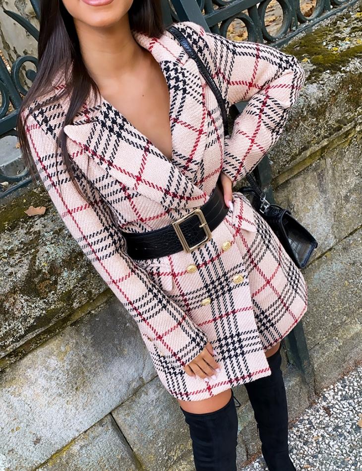 Blazer long en tweed à carreaux