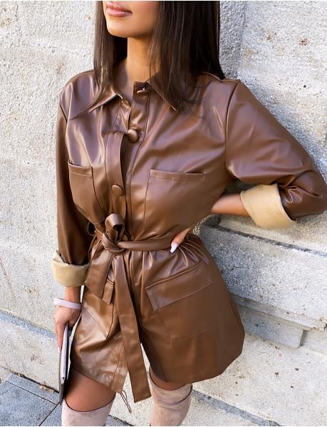 Robe chemise en cuir PU ceinturée