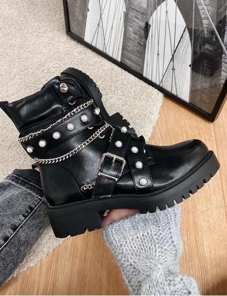 Ankle Boots with Buckles and Pearls