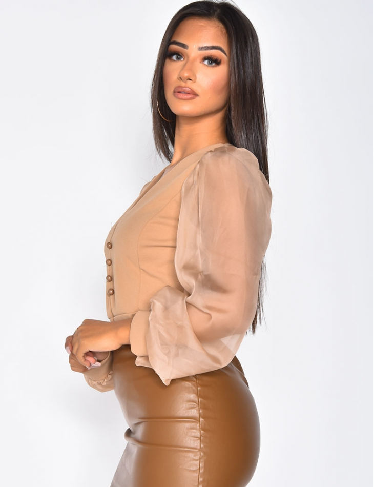 Button Up Bodysuit with Loose Fit Sleeves