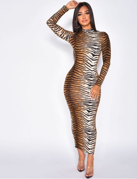 Long Tiger Bodycon Dress