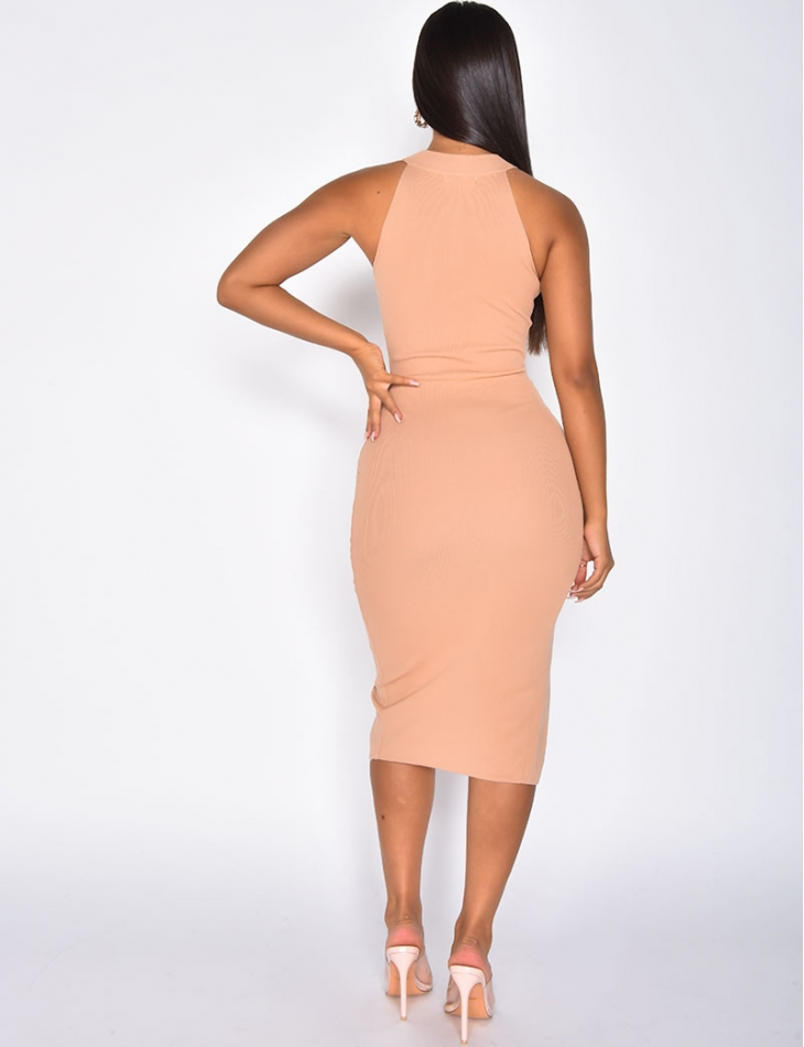 Ribbed Slit Dress