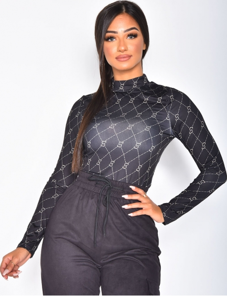 Long-Sleeved Bodysuit with Pattern