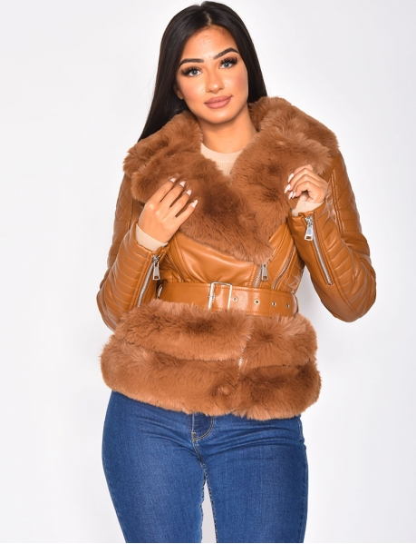 Faux Leather Biker Jacket with Faux Fur