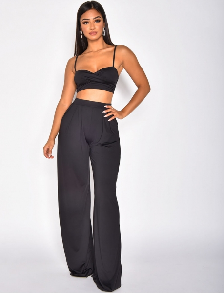 Ensemble pantalon large et crop top