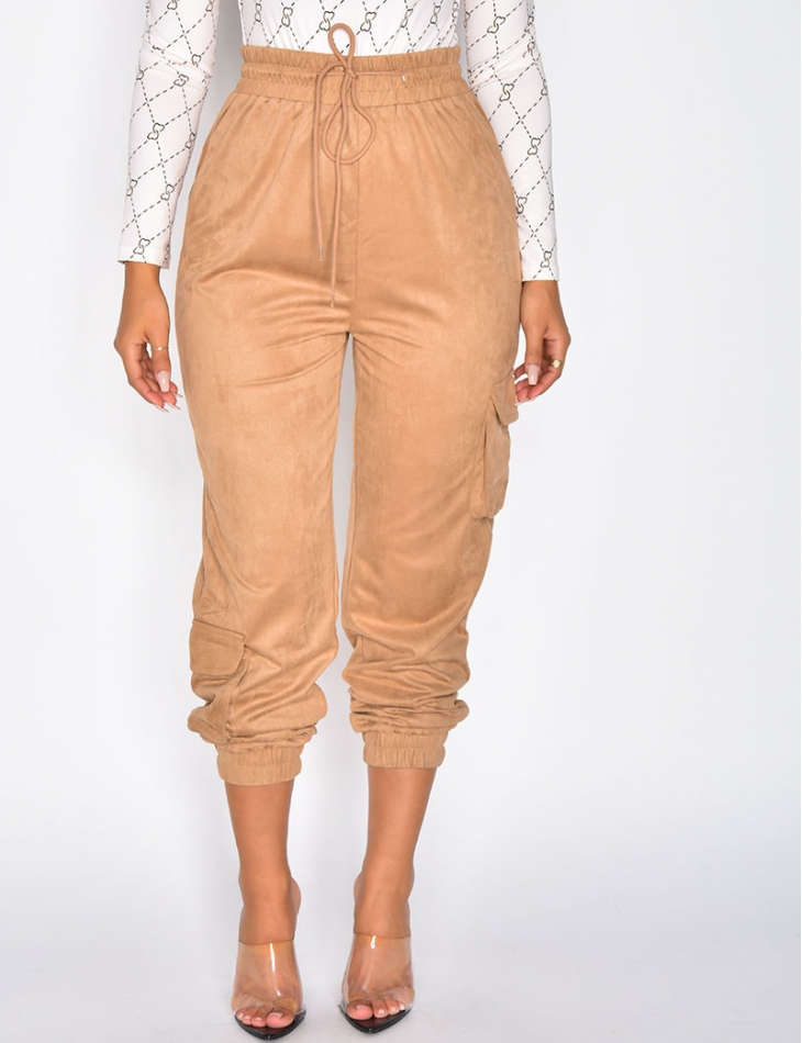 Suedette Trousers with Pockets