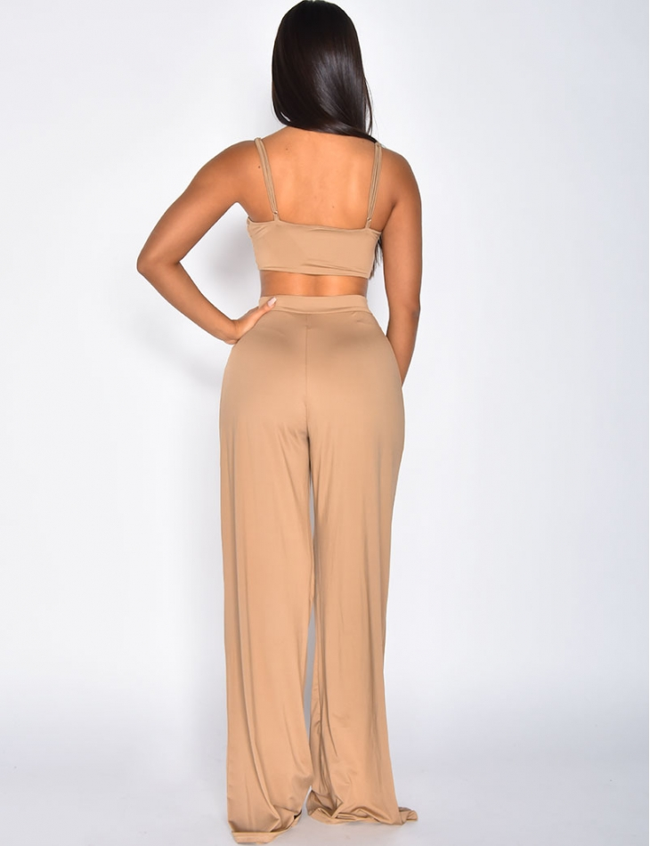Crop Top and Wide Leg Trouser Co-ord