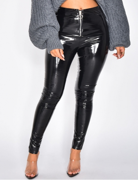 Pantalon à zip en vinyle