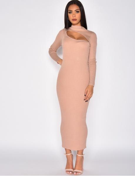 Durchbrochenes Rippstrick-Kleid