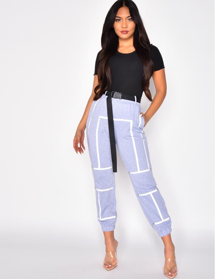 Pantalon de jogging à bandes réfléchissante à ceinture