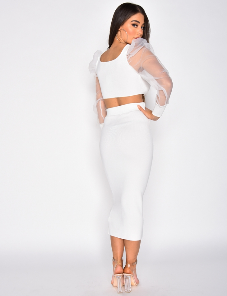 Crop Top with Transparent Puff Sleeves and Long Skirt Co-ord