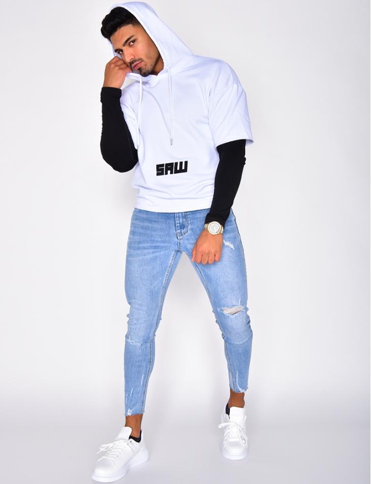 """SAW"" Hooded Sweatshirt with Short Sleeves"
