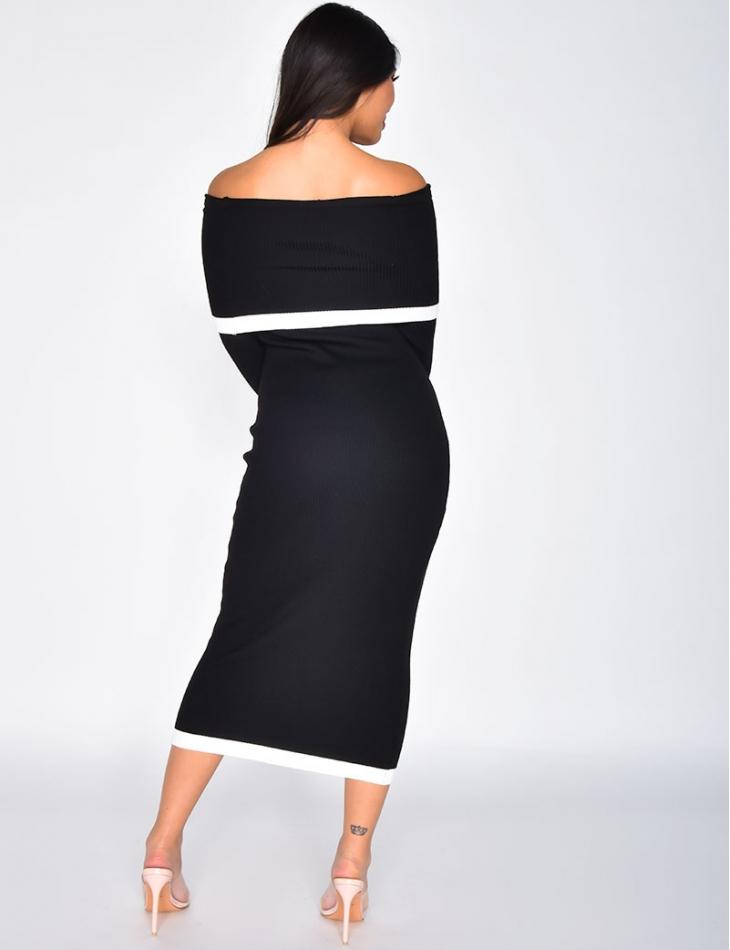 Ribbed Bardot Dress