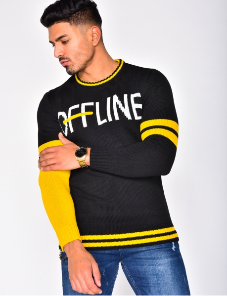"""OFFLINE"" Jumper with Stripes"