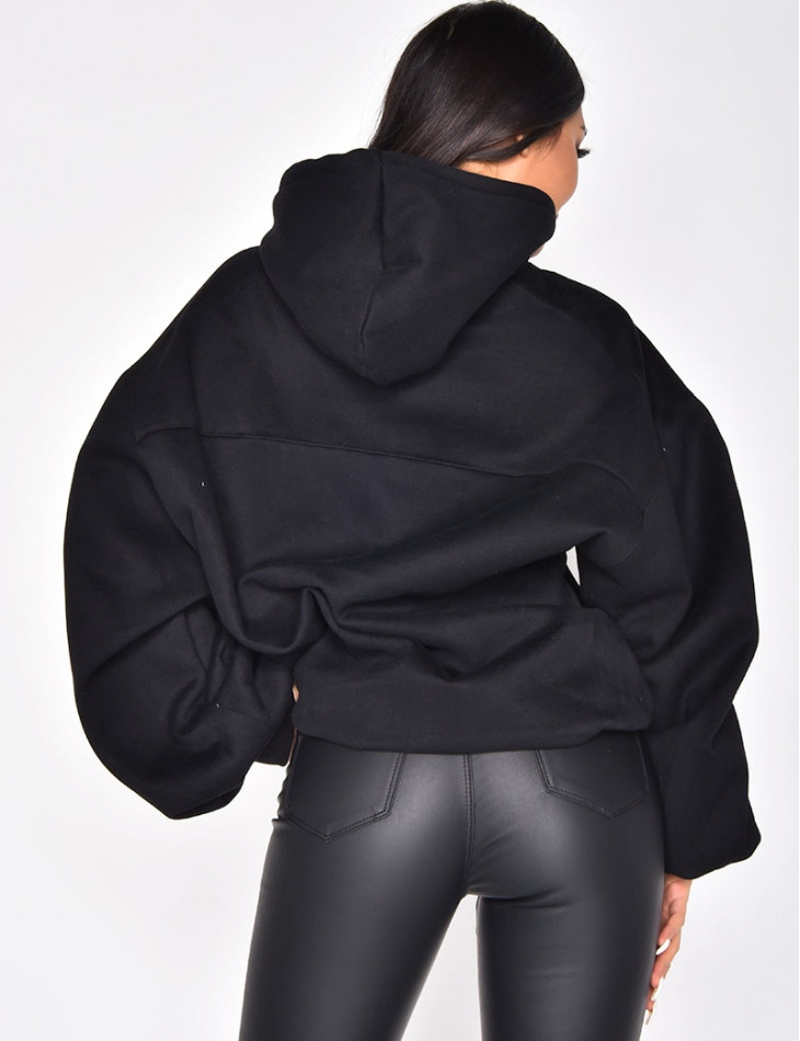 Hooded Sweatshirt with Puff Sleeves