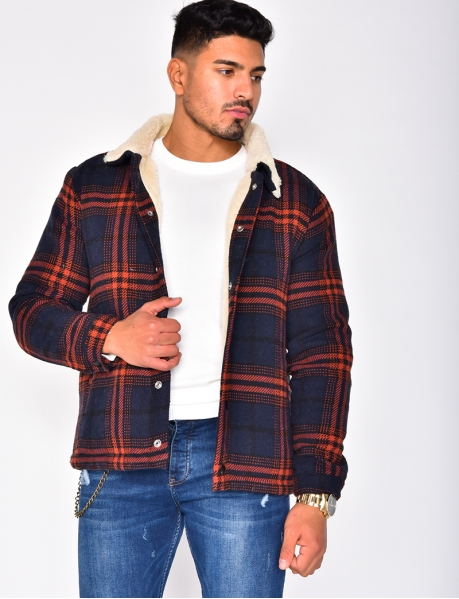 Fur-Lined Checked Jacket with Fur Collar
