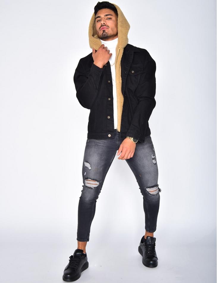 Sheepskin-Style Denim Jacket with Hood